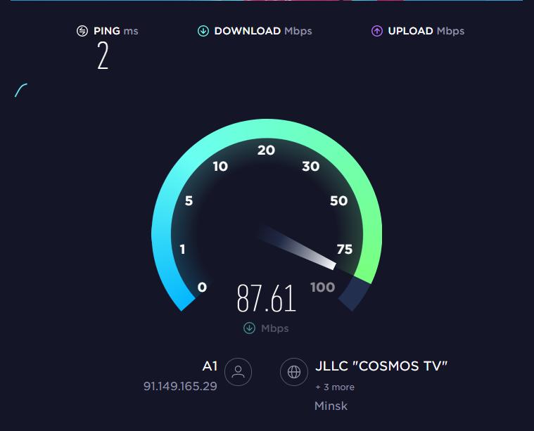 Проверка входящей и исходящей скорости интернета